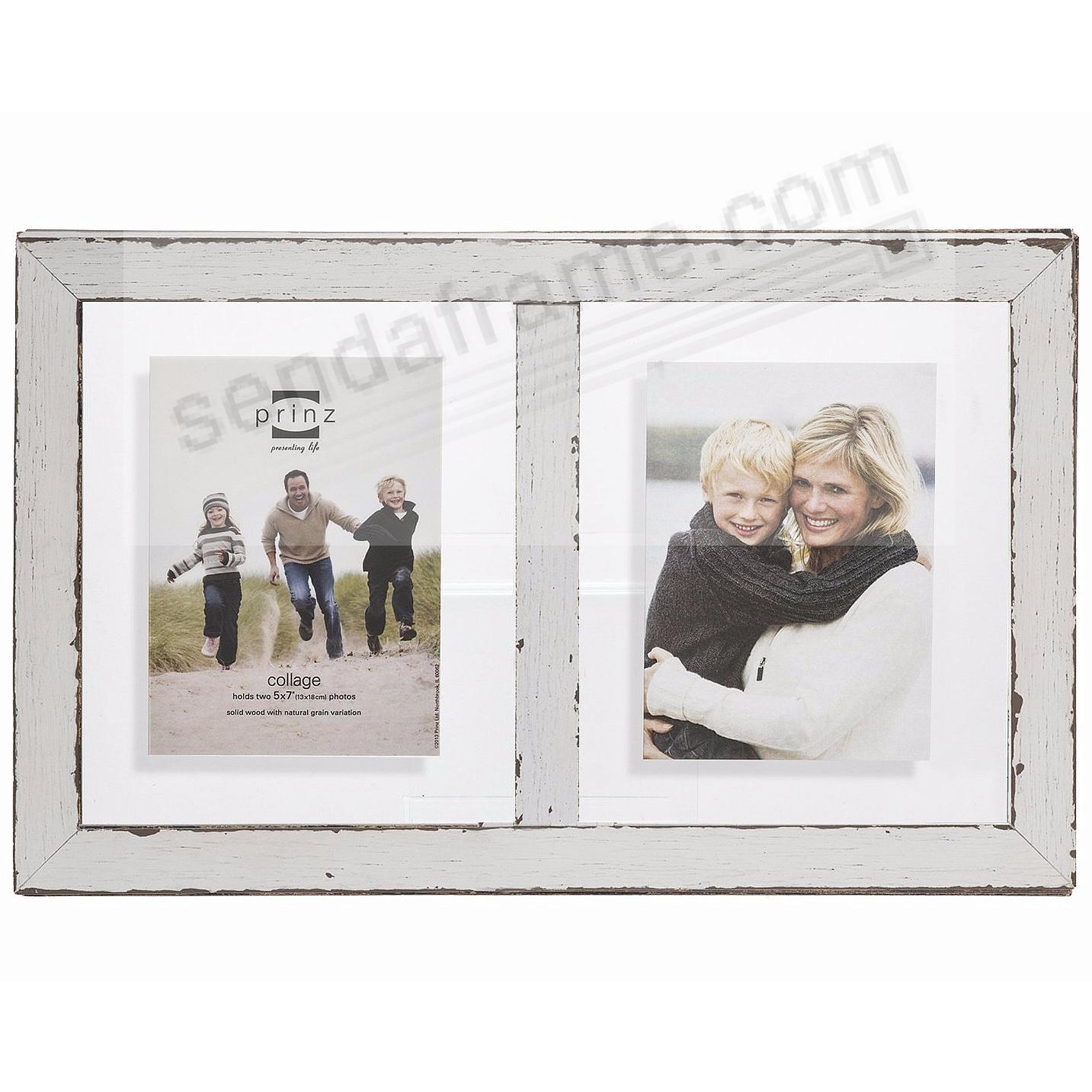 BRISTOL Distressed White Wood Float Double 5x7 Frame by Prinz USA ...