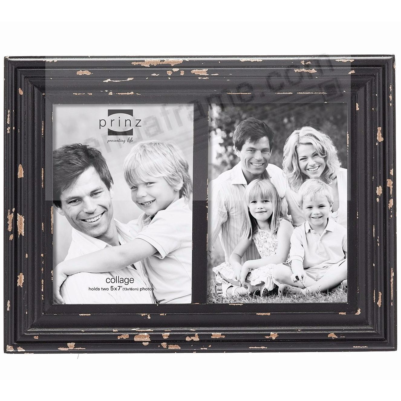 carson distressed black wood float double 5x7 frame by prinz usa