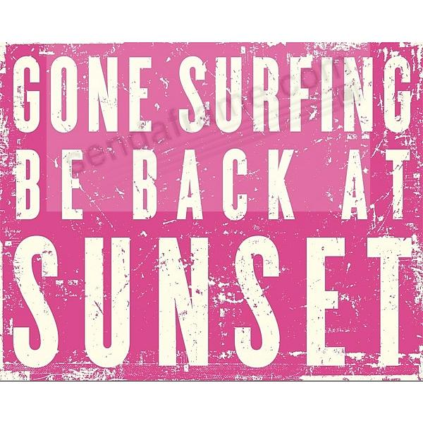 GONE SURFING Hot Pink Coastal-Wood 20x16 Box Sign by Sixtrees ...