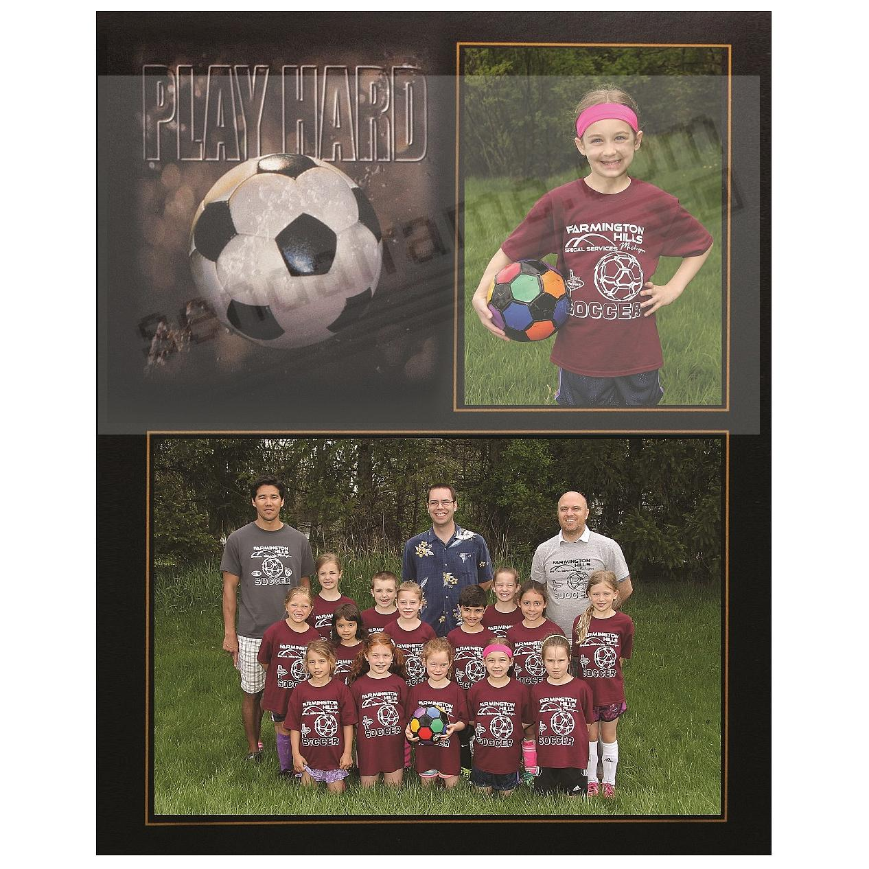 PLAY HARD SOCCER 7x5/3½x5 MEMORY MATES cardstock double photo frame (sold in 10's)