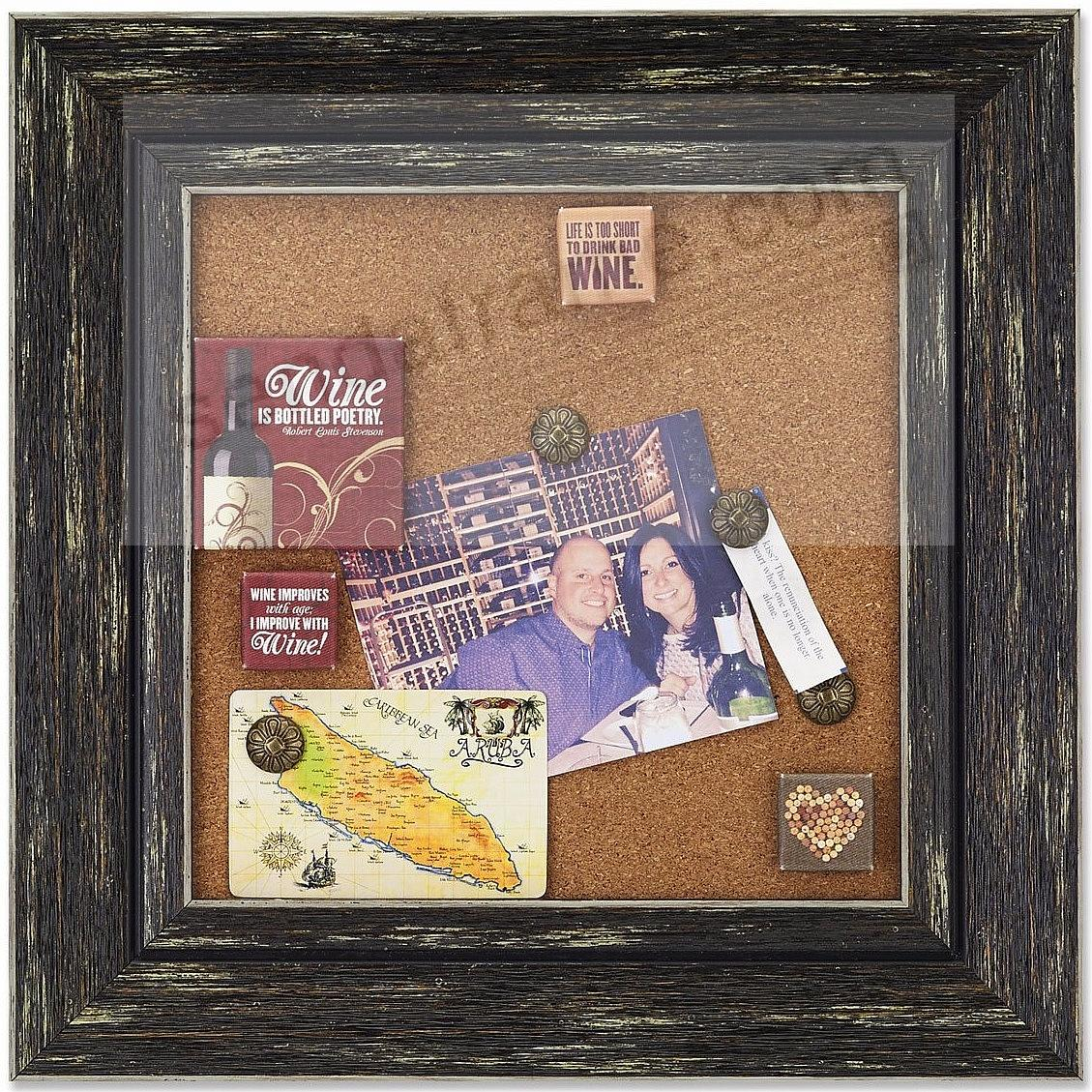Weathered-Black framed Corkboard by Lawrence®