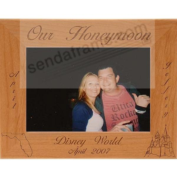 Celebrate your love with the personalized<br>OUR HONEYMOON frame