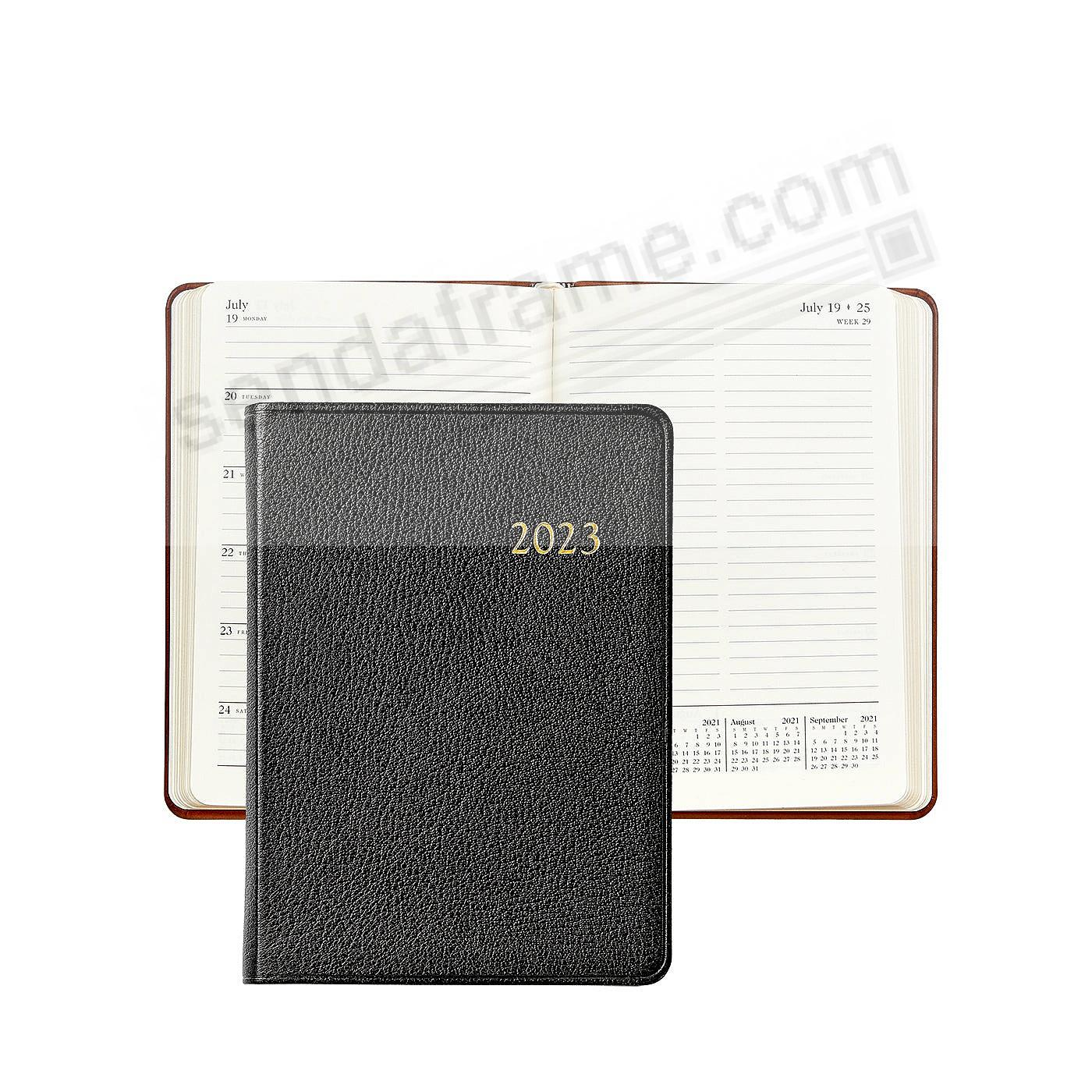 2018 Notebook Planner 7in BLACK Goatskin Leather by Graphic Image™