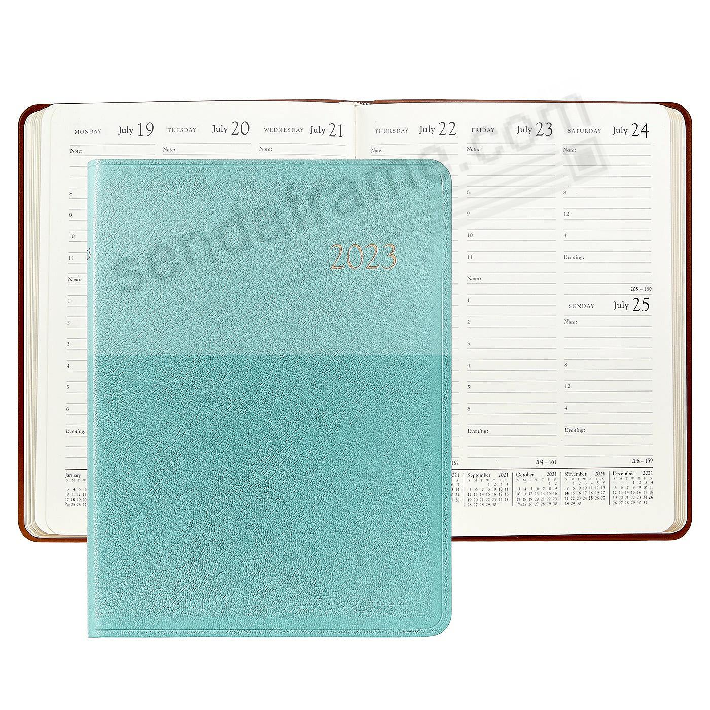 2019 Brights ROBINS EGG BLUE fine Leather 9in Desk Diary by Graphic Image™