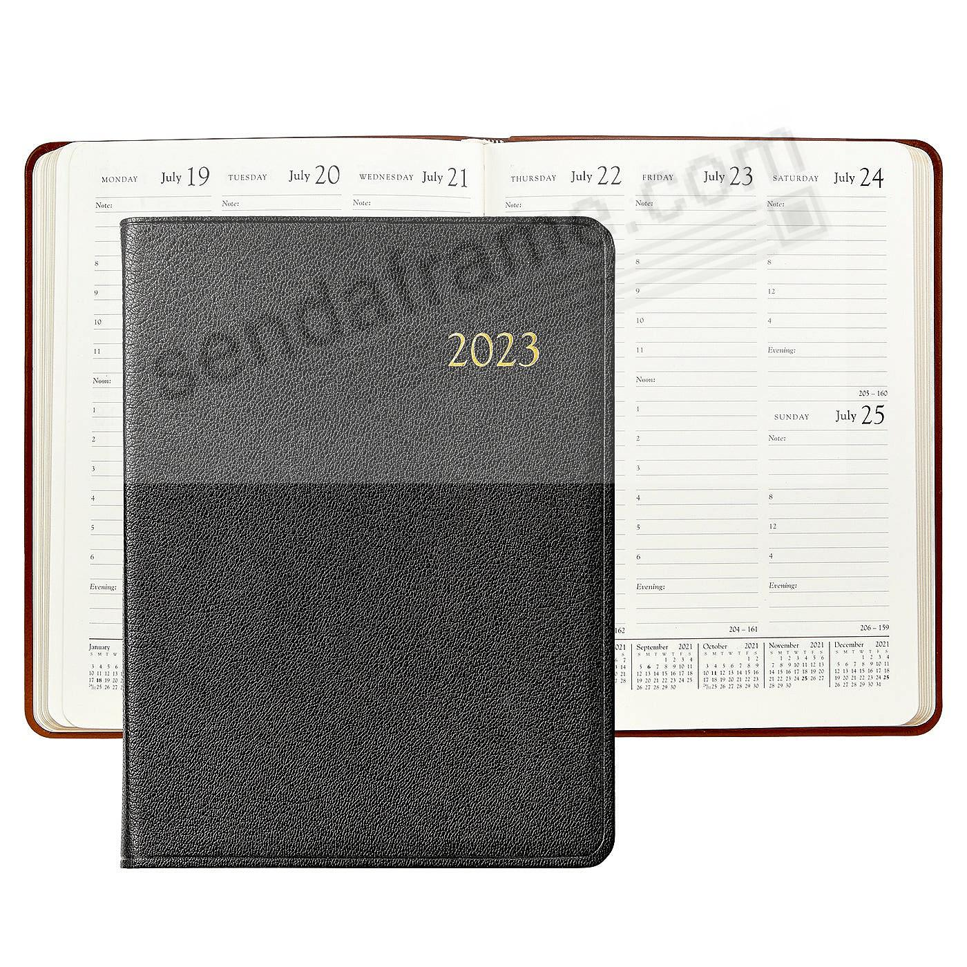 2018 BLACK Goatskin Leather 9in Desk Diary by Graphic Image™