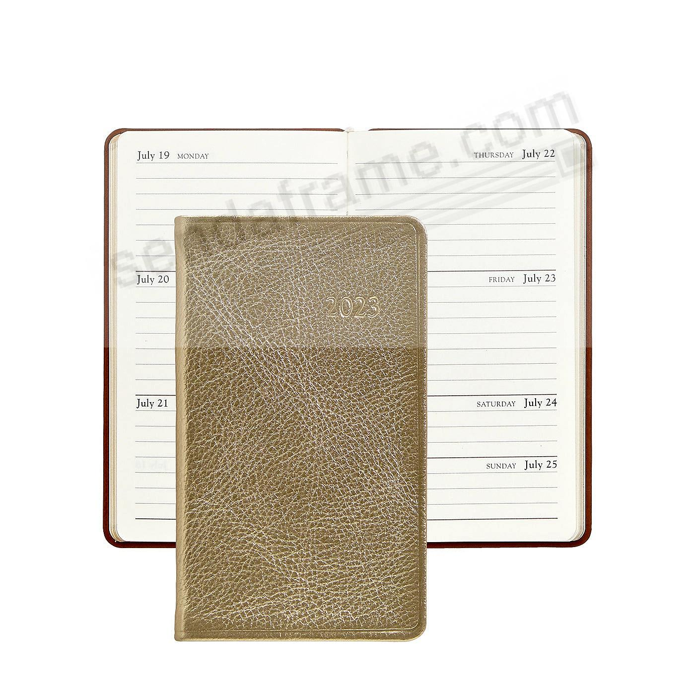 2018 WHITE-GOLD METALLICS 5-inch Pocket Datebook Diary Leather by Graphic Image™