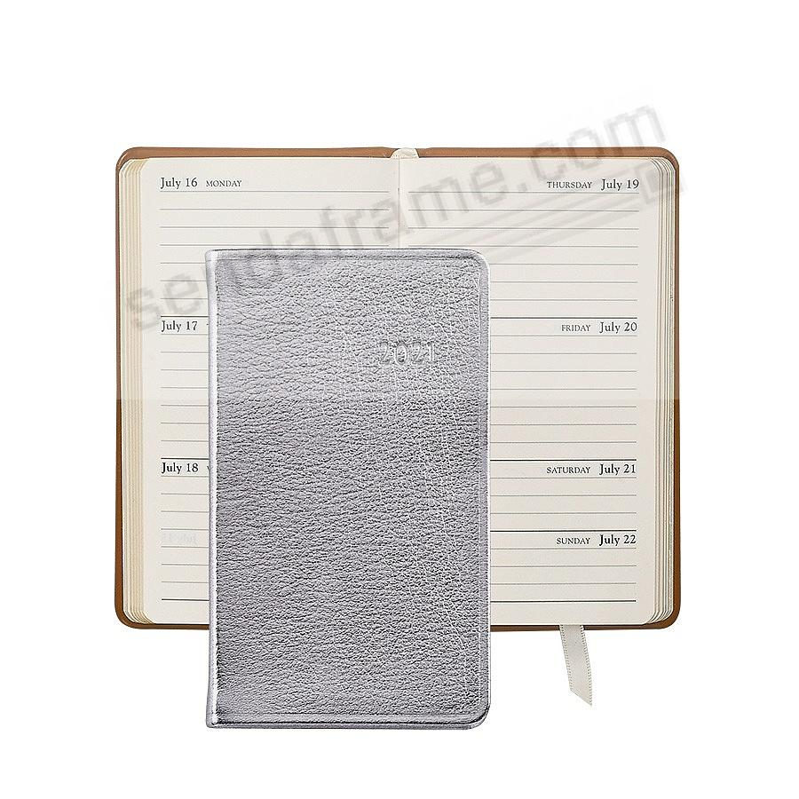 2018 SILVER METALLICS 5-inch Pocket Datebook Diary Leather by Graphic Image™