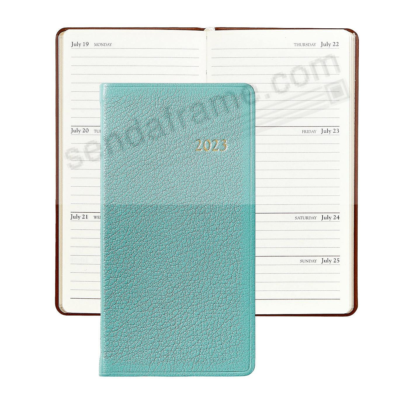 2018 ROBINS-EGG BLUE 6in Pocket Datebook Diary Goatskin Leather by Graphic Image™