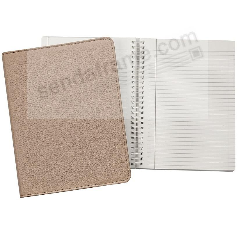 Wire-O-Notebook 9-inch Sand PEBBLE GRAIN Fine Leather by Graphic Image™