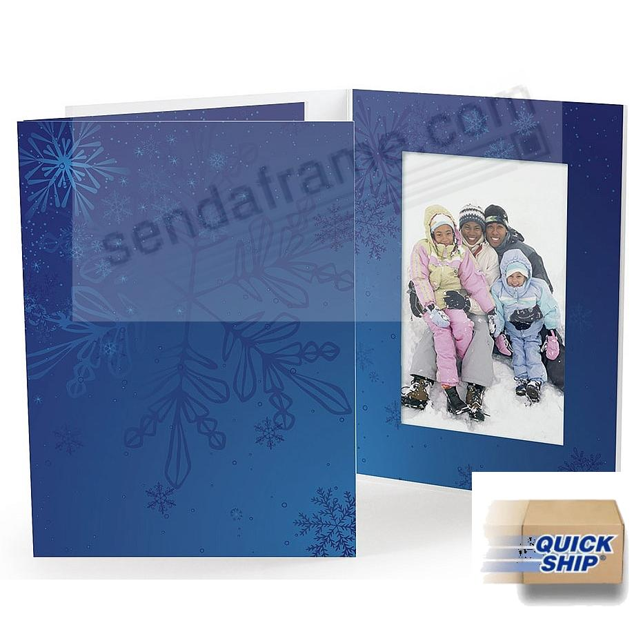 BLUE SNOWFLAKE Holiday Photo Folder for 5x7 (portrait) prints