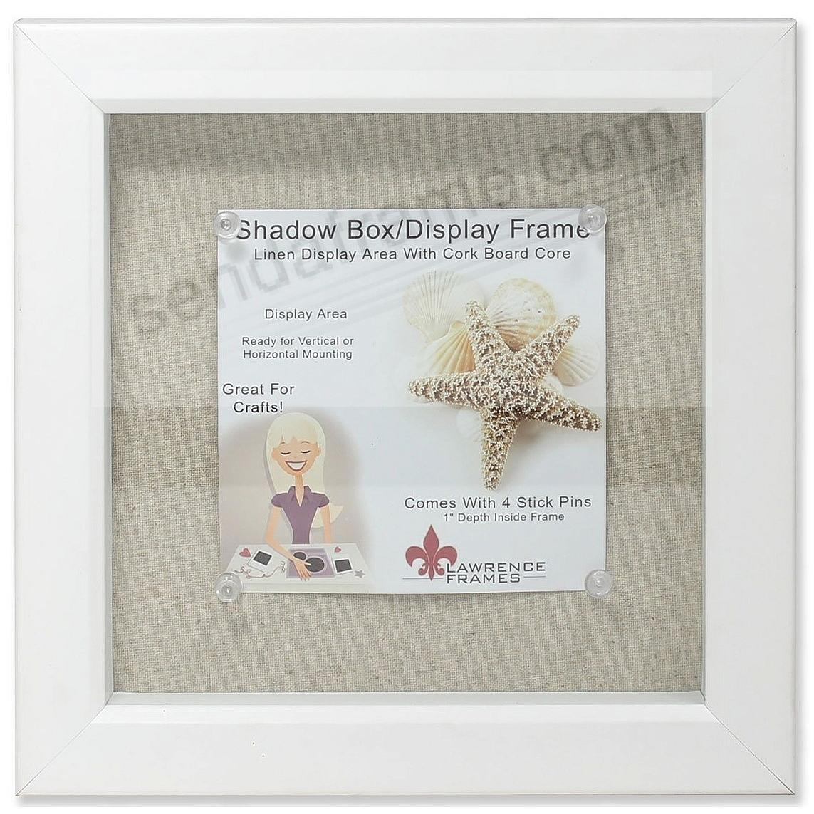 White-stained 1in Deep craft linen-lined 8x8 ShadowBox by Lawrence ...