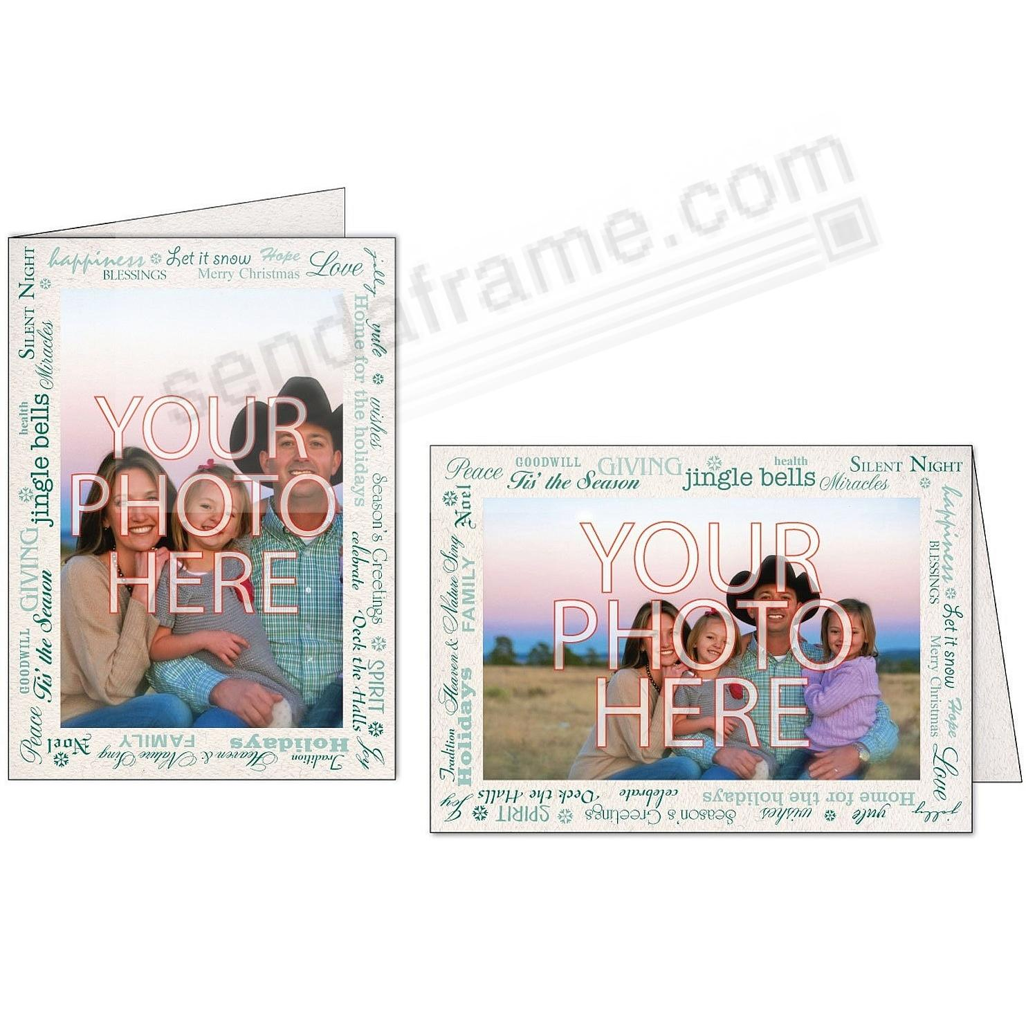 HOLIDAY GREETING BORDER NATURAL/Green Photo Insert Card (sold in 10s)