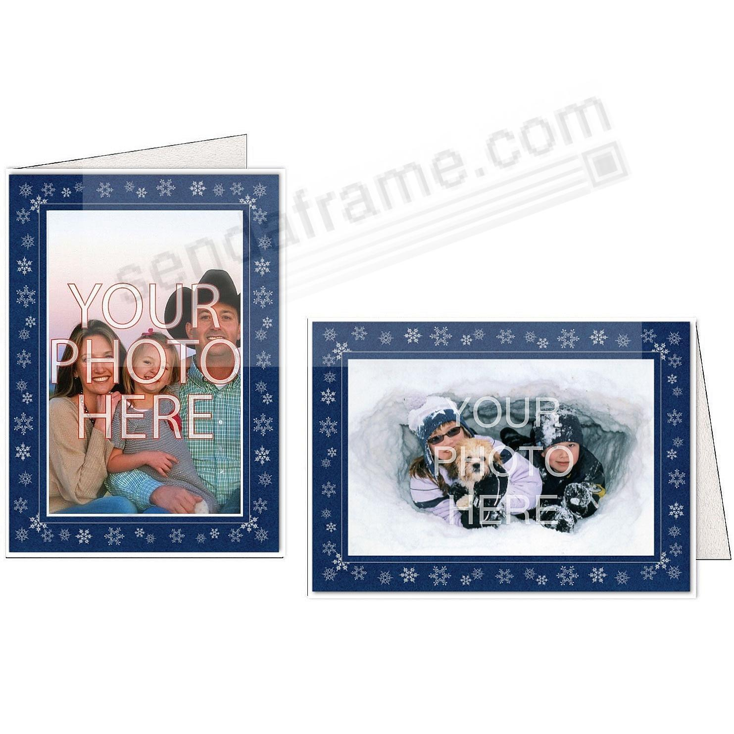 SNOWFLAKES Deep-Blue Photo Insert Card (sold in 10s)