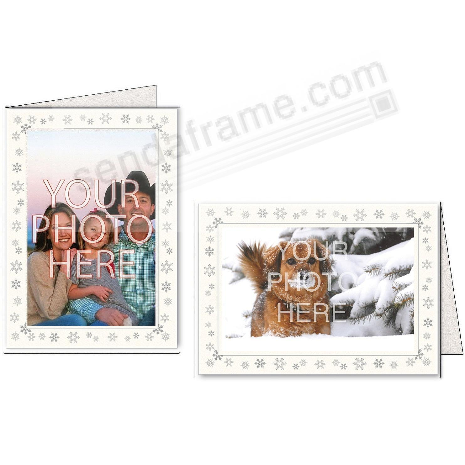 Bright-WHITE SNOWFLAKES Photo Insert Card (sold in 10s)