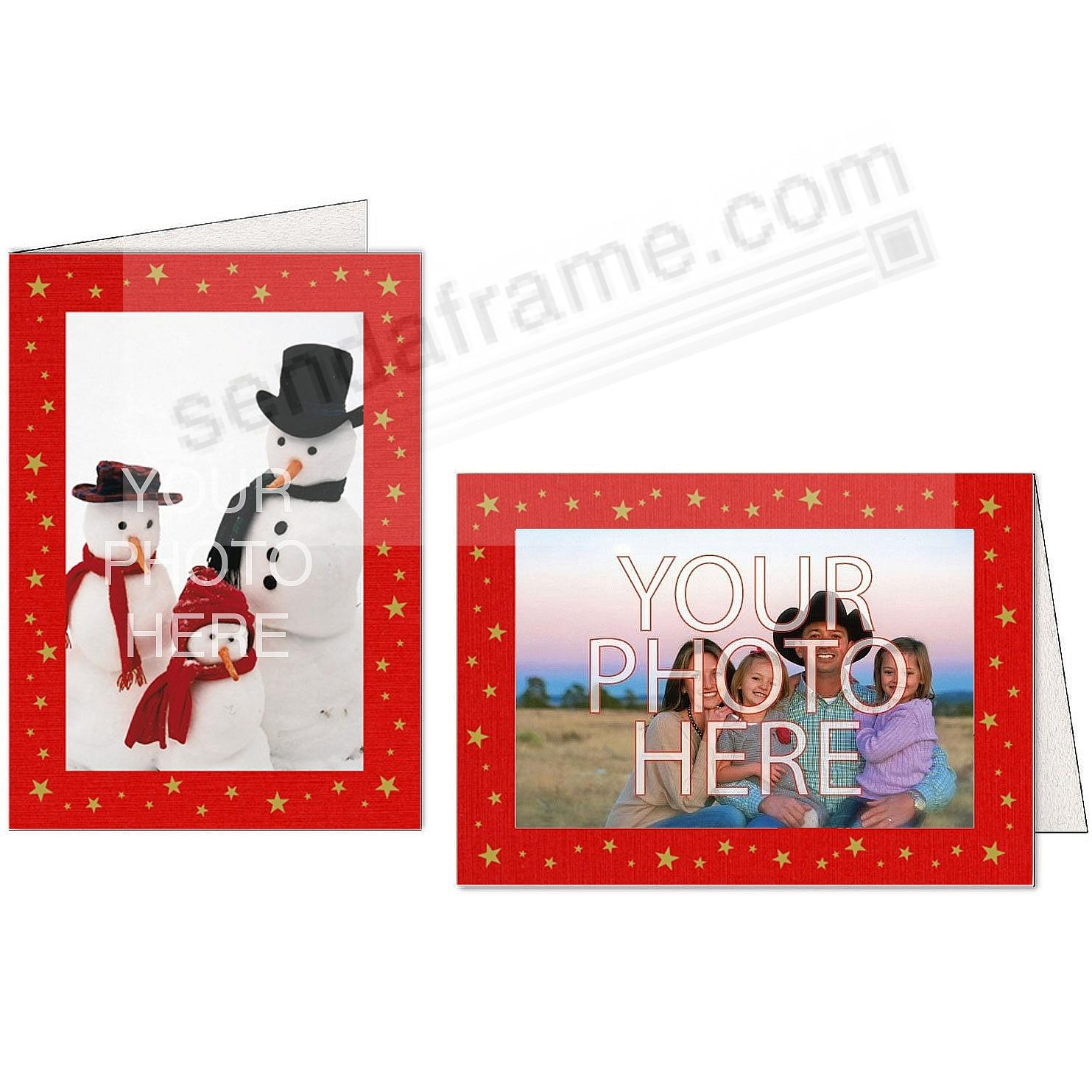 Red Pepper Premium Linen GOLD STARS Photo Insert Card (sold in 10s)