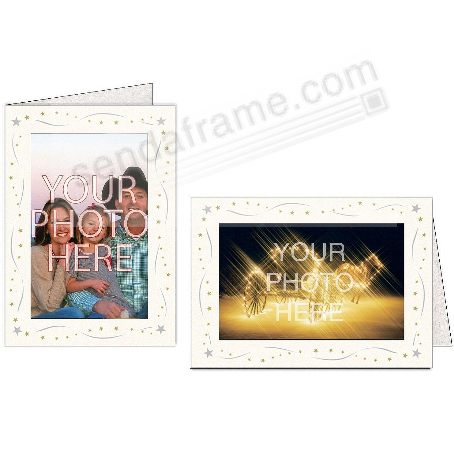 BRIGHT WHITE SILVER+GOLD STAR Border Photo Insert Card (sold in 10s ...