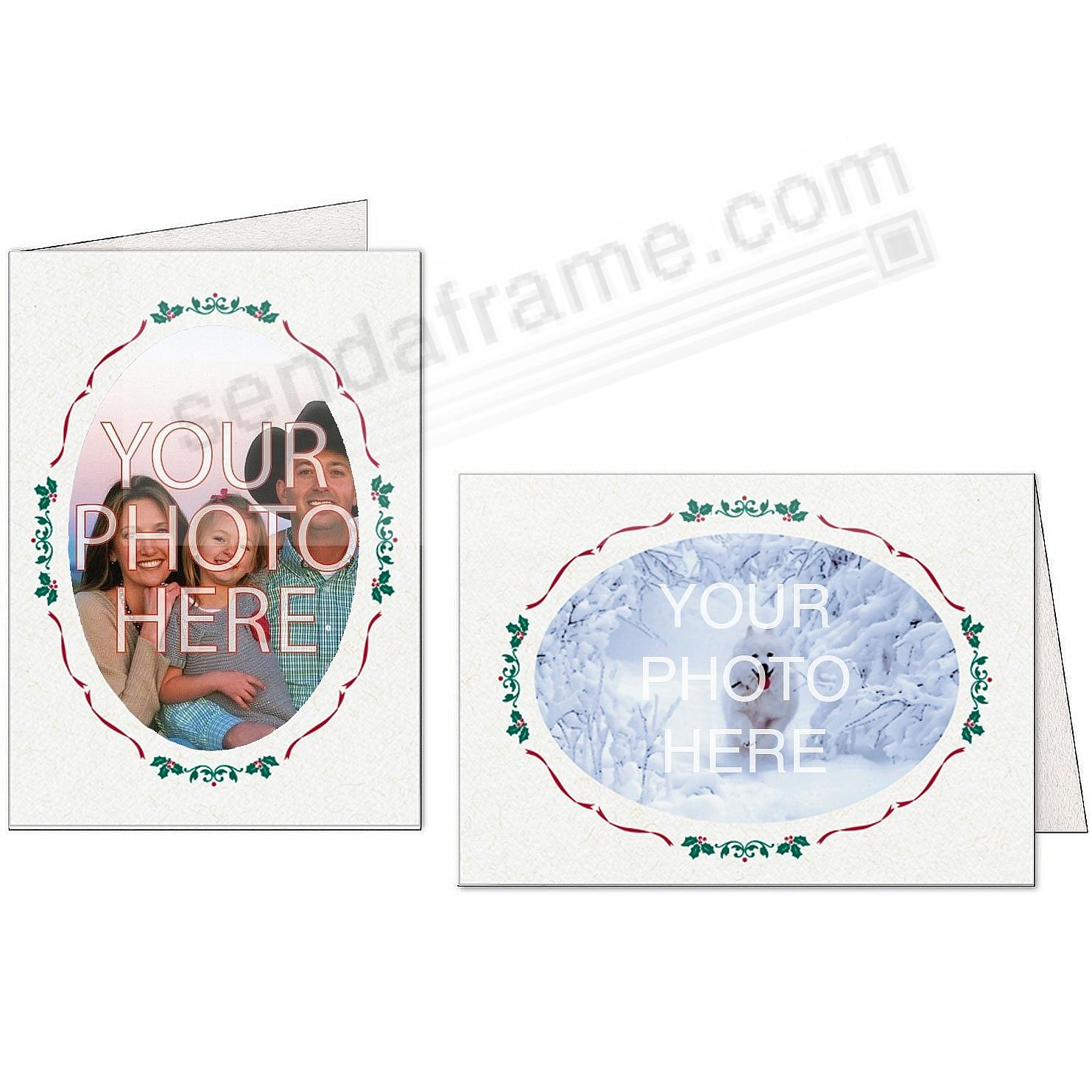 Natural OVAL WINDOW HOLIDAY Border Photo Insert Card (sold in 10s)