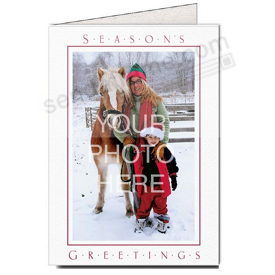 Bright White SEASONS GREETINGS Photo Insert Card (sold in 10s)