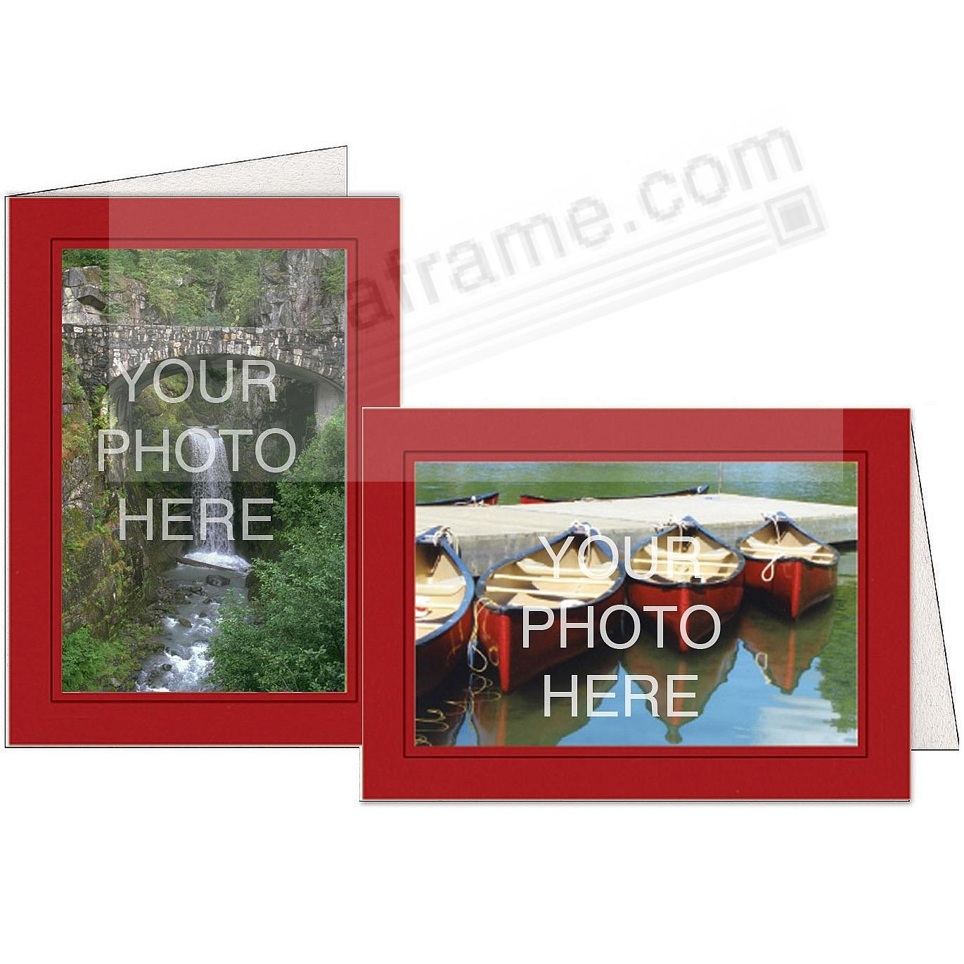 CHERRY-RED w/Black Trim Border Photo Insert Card (sold in 10s)
