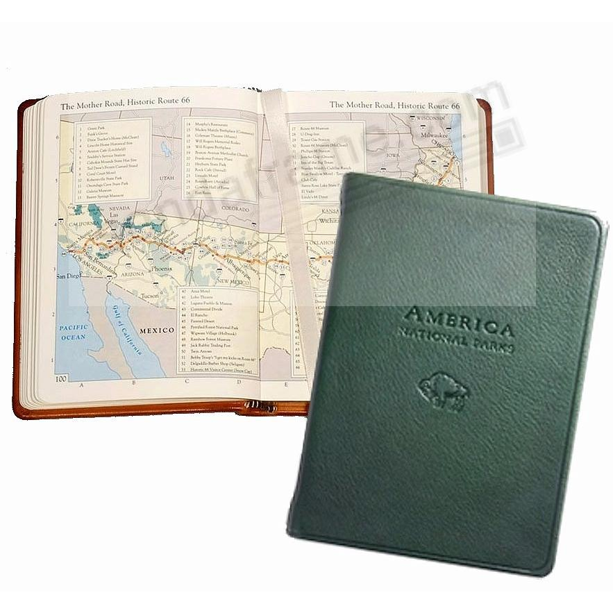 AMERICA NATIONAL PARKS Atlas in GREEN Traditional Leather by Graphic Image™
