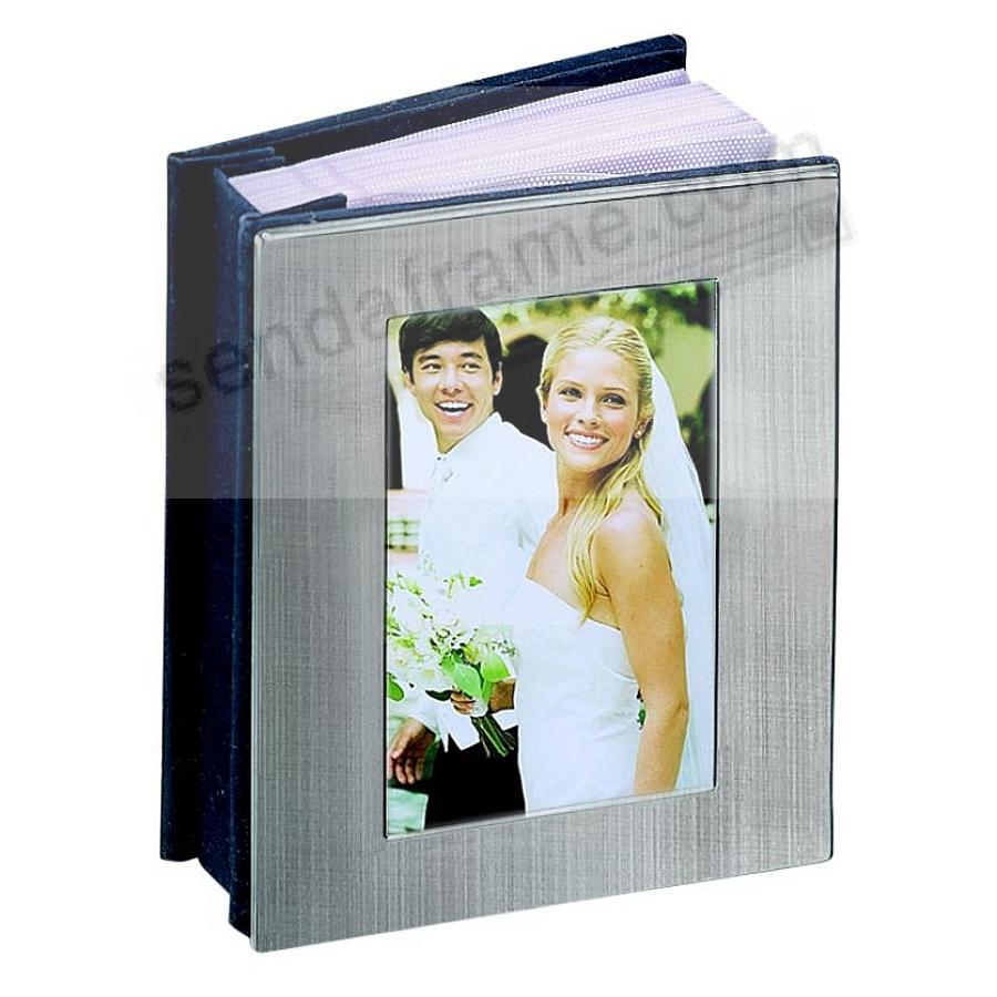 Satin-Finish Nickel-Silver Album with Window Cover holds 100 photos