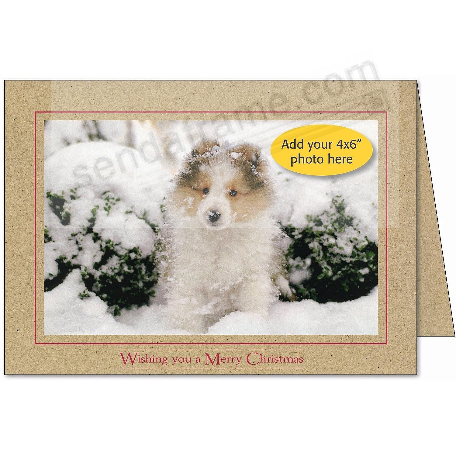 Kraft Paper WISHING YOU A MERRY CHRISTMAS... Photo Insert Card (sold in 10s)