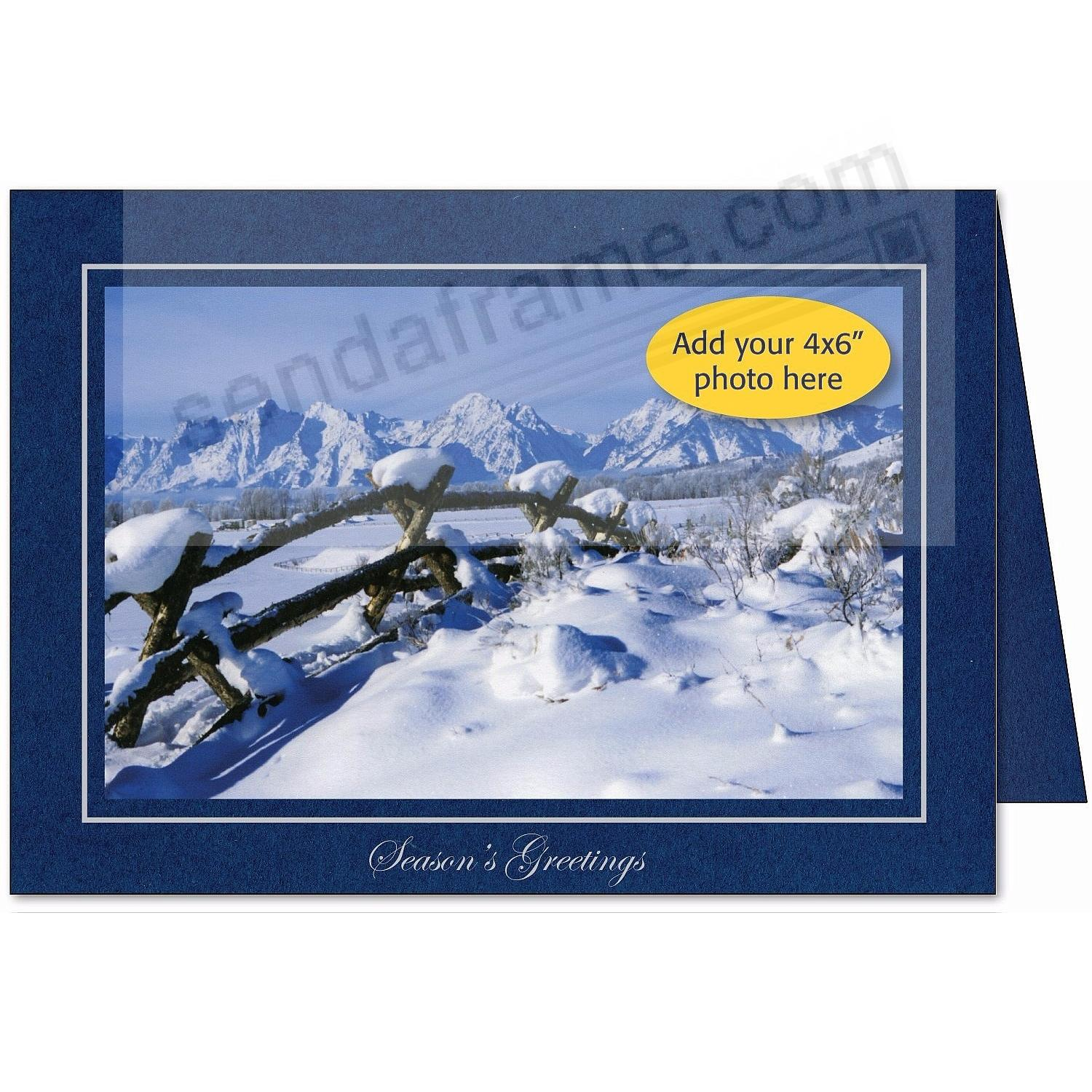 Blue SEASONS GREETINGS Photo Insert Card (sold in 10s)
