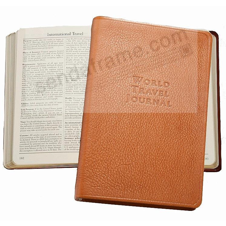WORLD TRAVEL JOURNAL Pocket 6in British-Tan Fine Leather by Graphic Image™