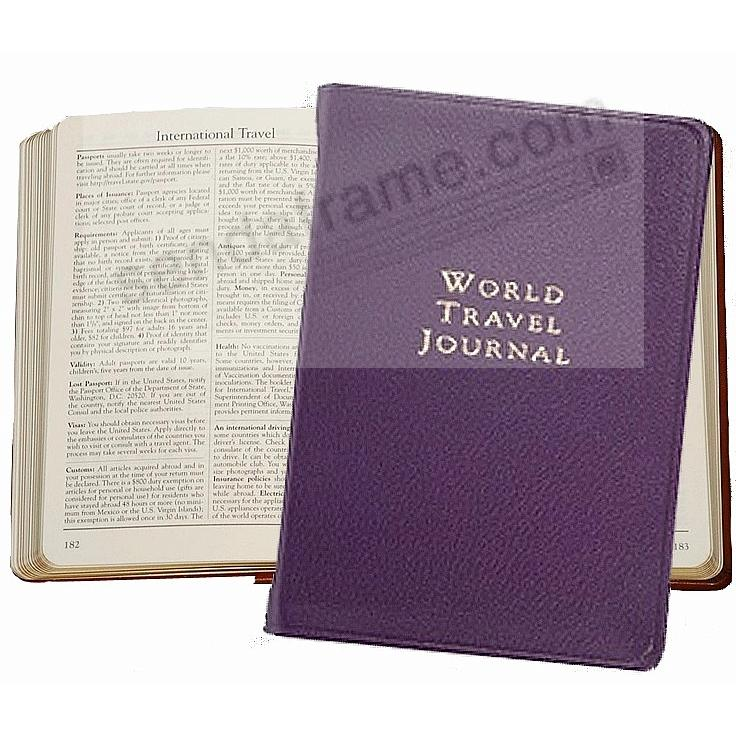 WORLD TRAVEL JOURNAL Pocket 6in Purple Fine Leather by Graphic Image™