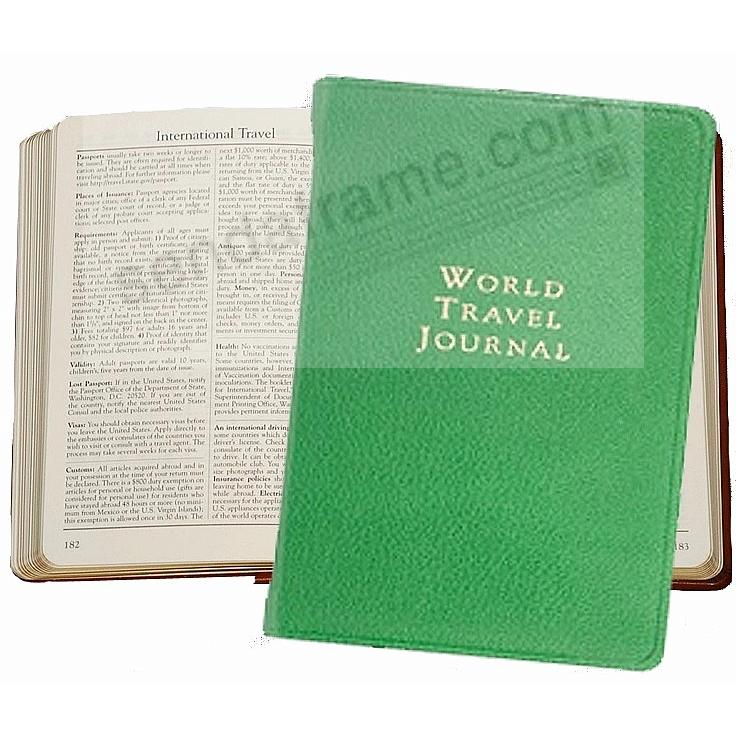 WORLD TRAVEL Pocket 6in Journal in Brights-Green Fine Leather by Graphic Image™