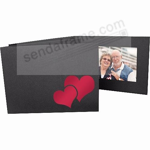Valentine's DOUBLE HEART Red Foil<br>on Black Cardstock 6x4 Photo Folder Frame