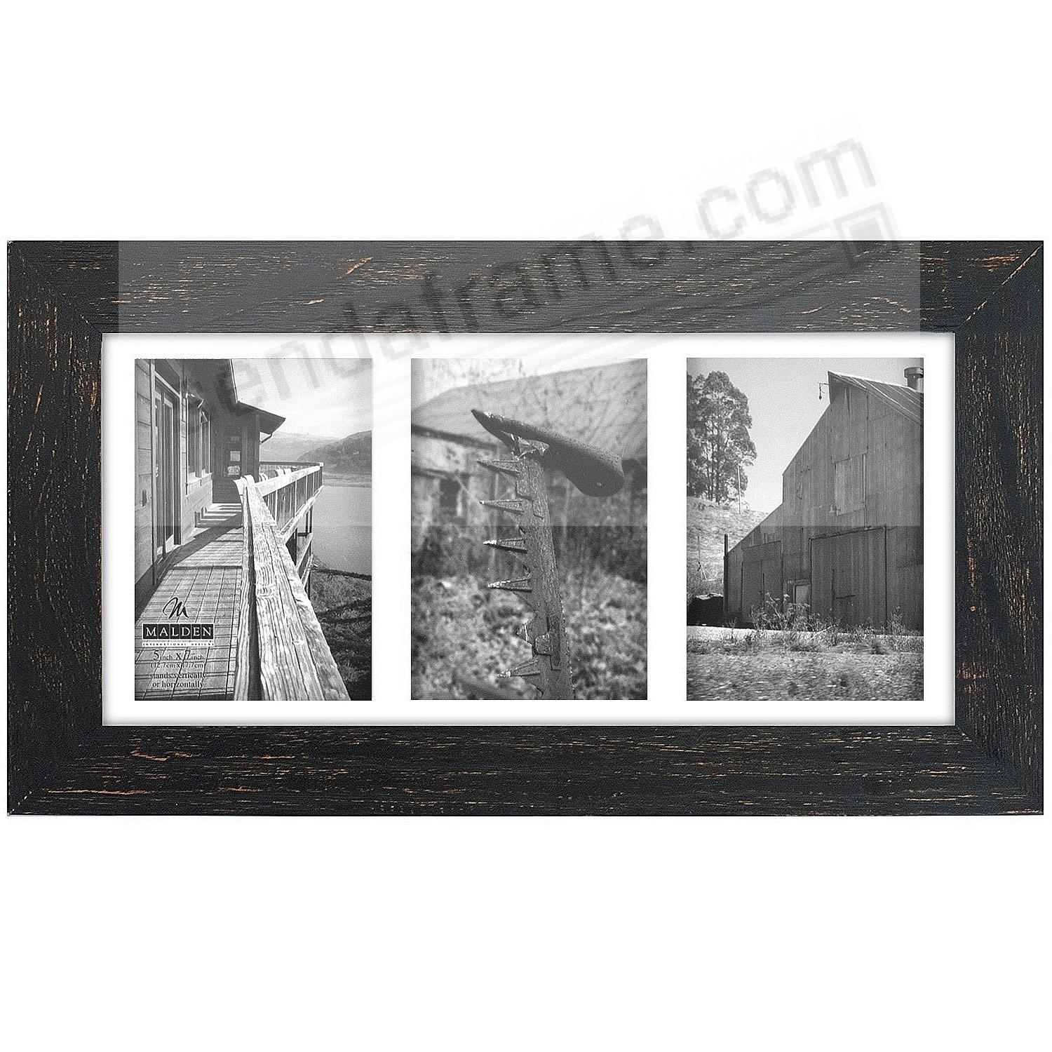 The MANHATTAN BLACK ROUGH TRIPLE Matted displays (3) 5x7 photos by ...