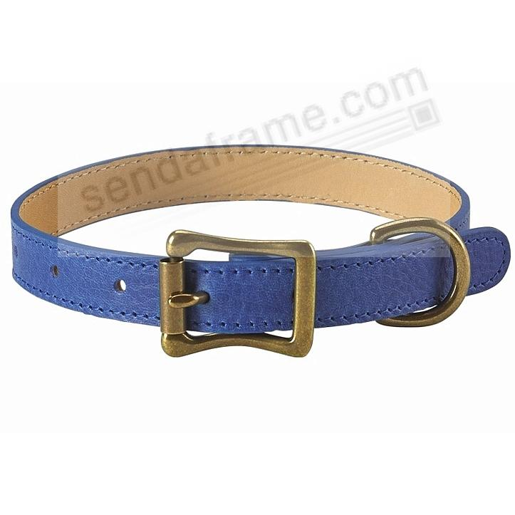 MEDIUM DOG COLLAR BLUE LEATHER 16-19in by Graphic Image™