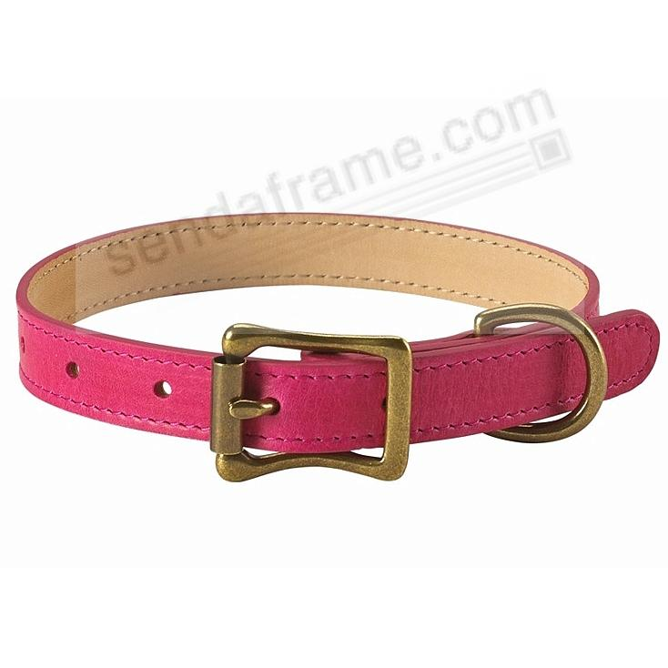 LARGE DOG COLLAR FUSCHIA-PINK LEATHER 19-22in by Graphic Image™