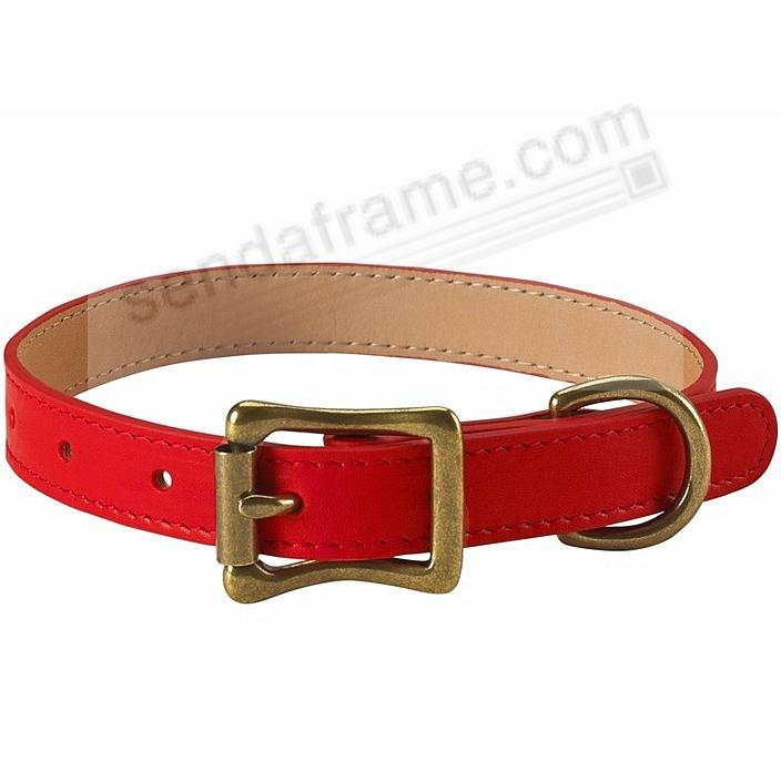 LARGE DOG COLLAR RED LEATHER 19-22in by Graphic Image™