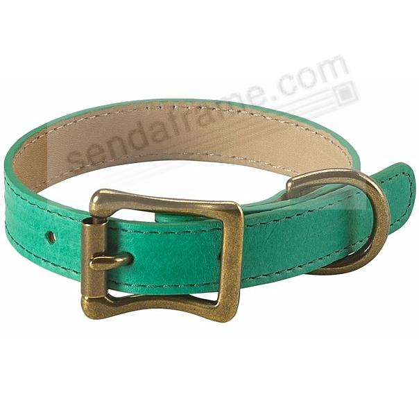 PETITE DOG COLLAR EMERALD-GREEN LEATHER 10½-12½in by Graphic Image™