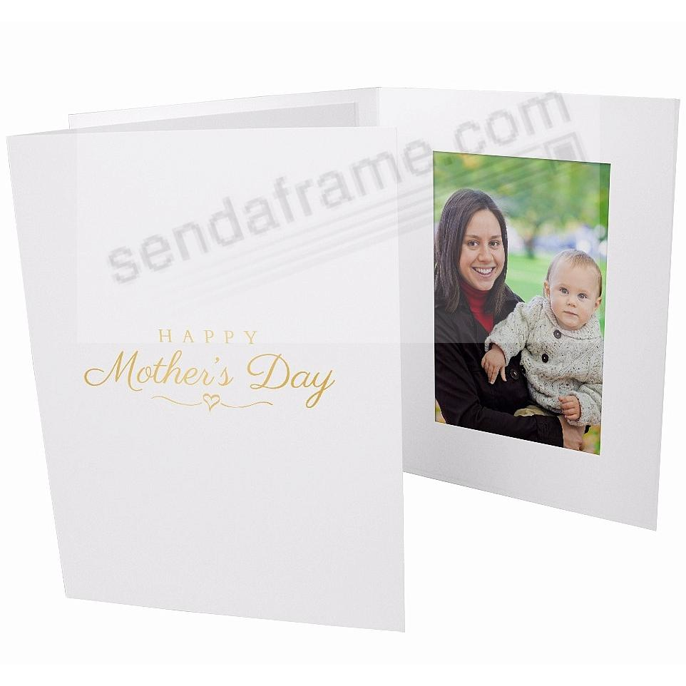 HAPPY MOTHERS DAY Gold Foil on White Cardboard photo folder