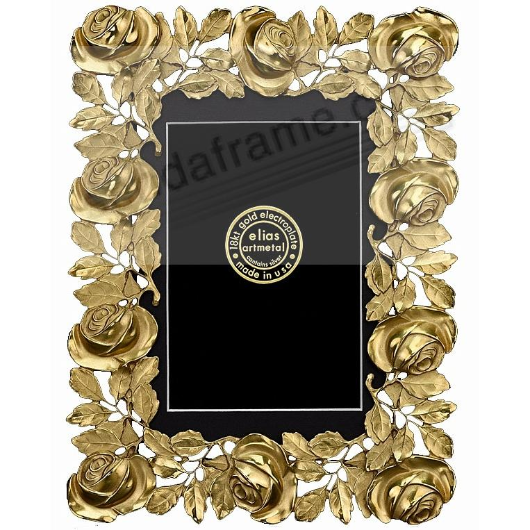 The ROSES FRAME 18kt Gold Vermeil 4x6 / 3½x5½ by Elias Artmetal®