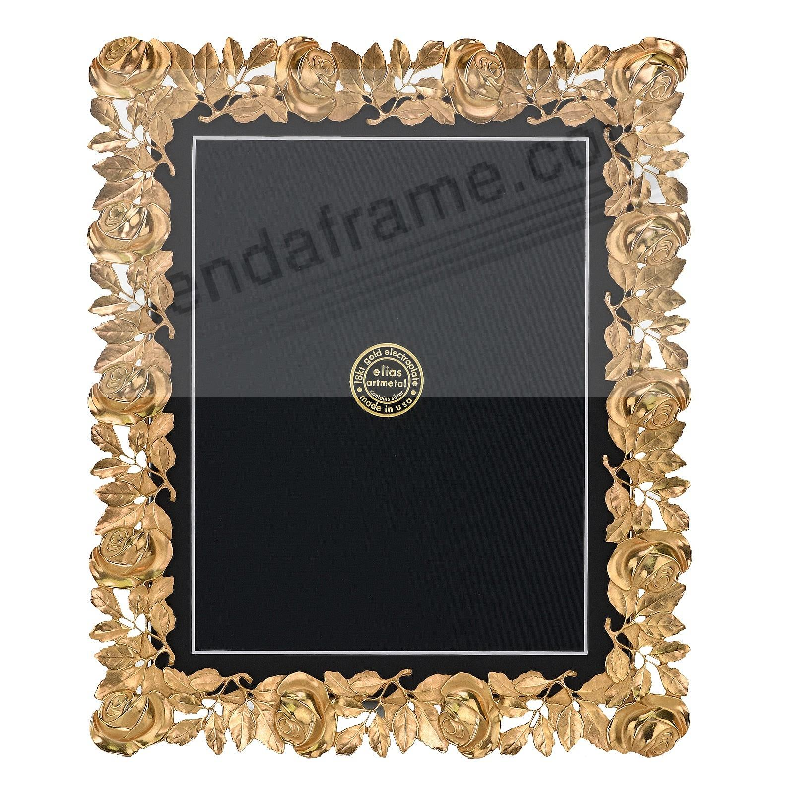 The ROSES FRAME 18kt Gold Vermeil over fine Pewter 8x10/7x9 by Elias Artmetal®