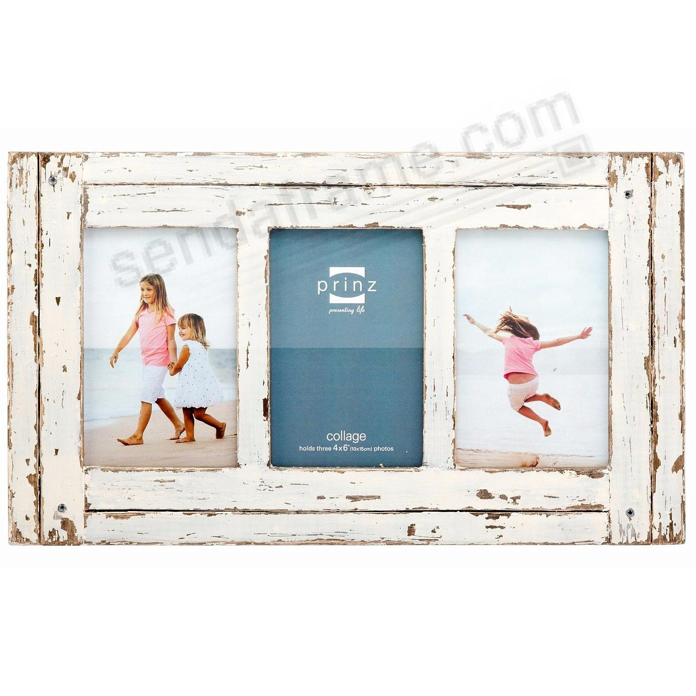 HOMESTEAD Antique White Wood Triple 4x6 Collage Frame by Prinz ...