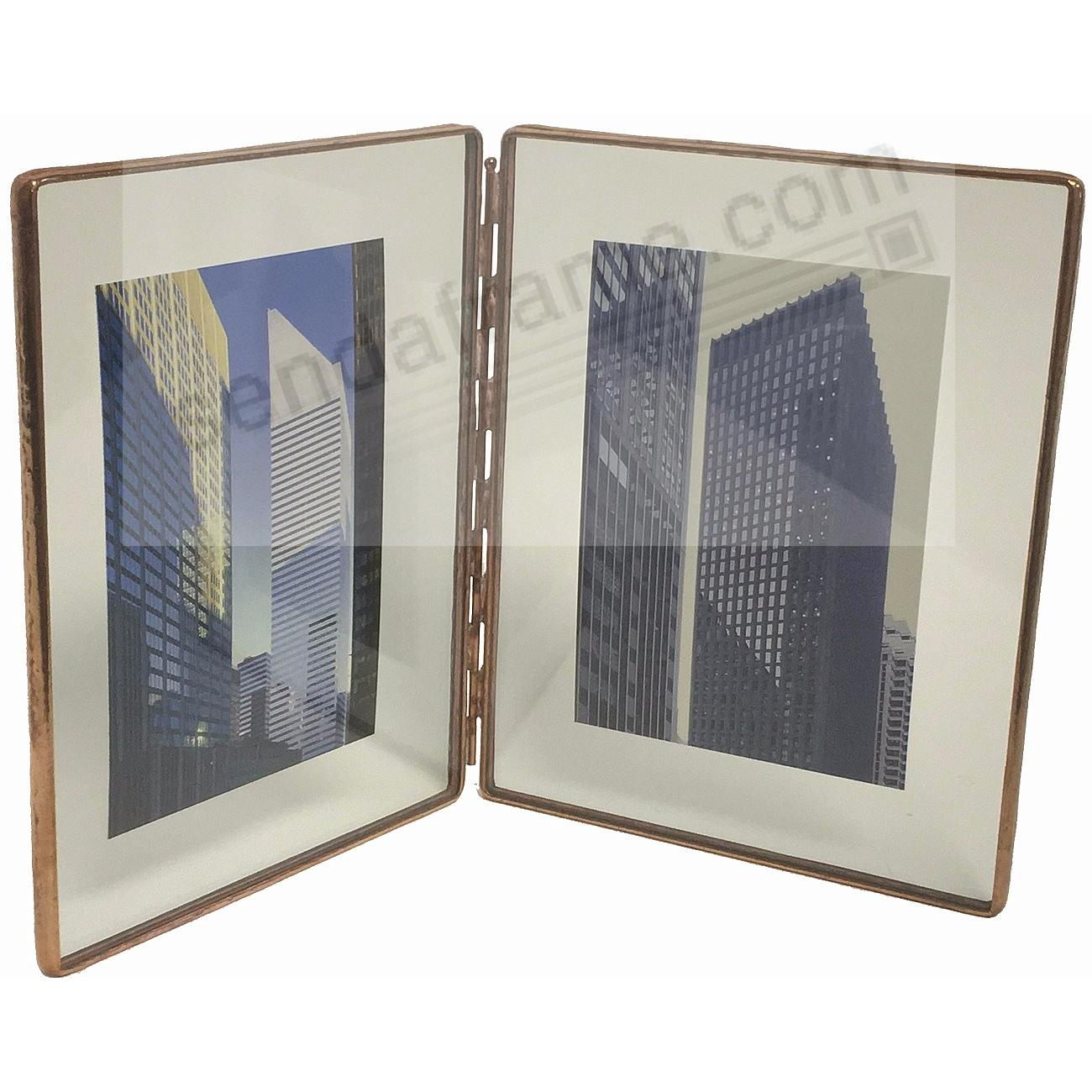COPPER + Clear Glass Float Frame 5½x7/4x6 Hinged Double by Bedford ...