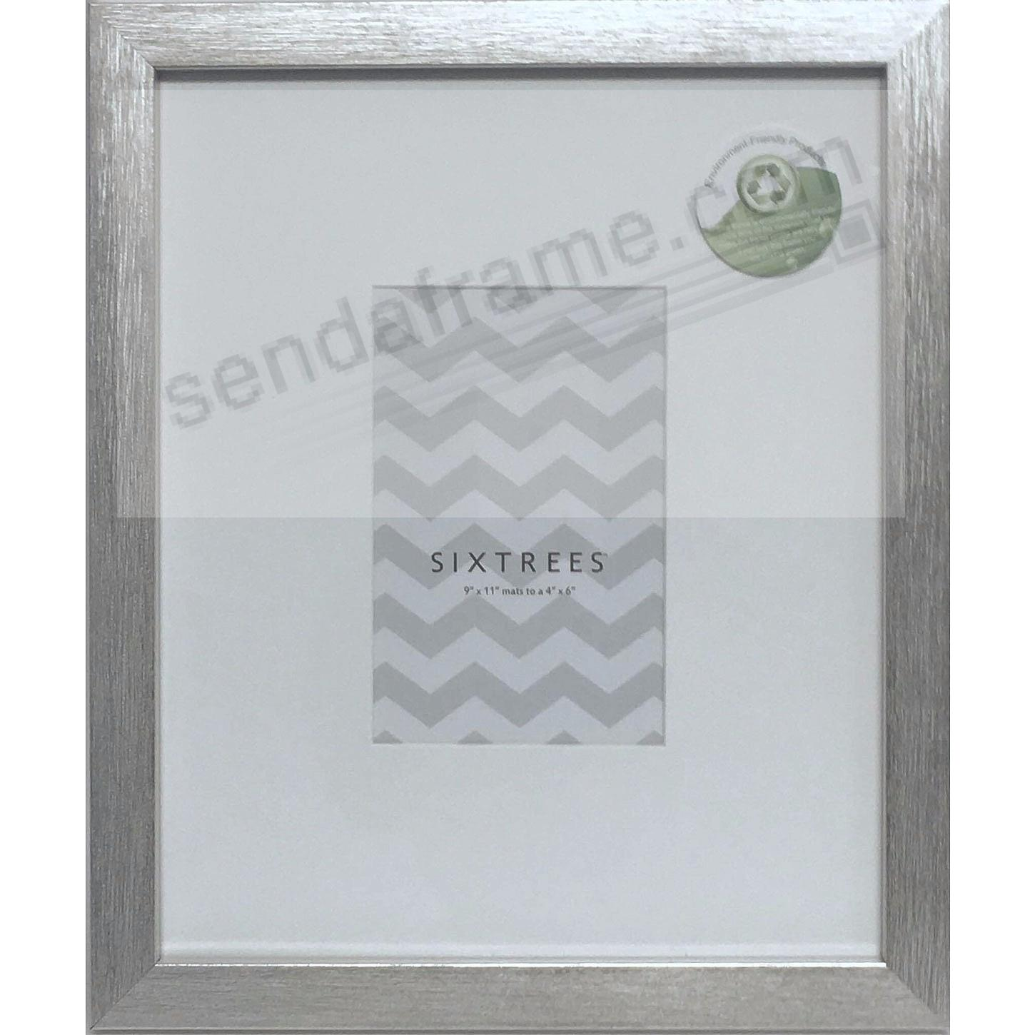 Brushed-Silver MATTED 9x11/4x6 frame by SIXTREES® - Picture Frames ...