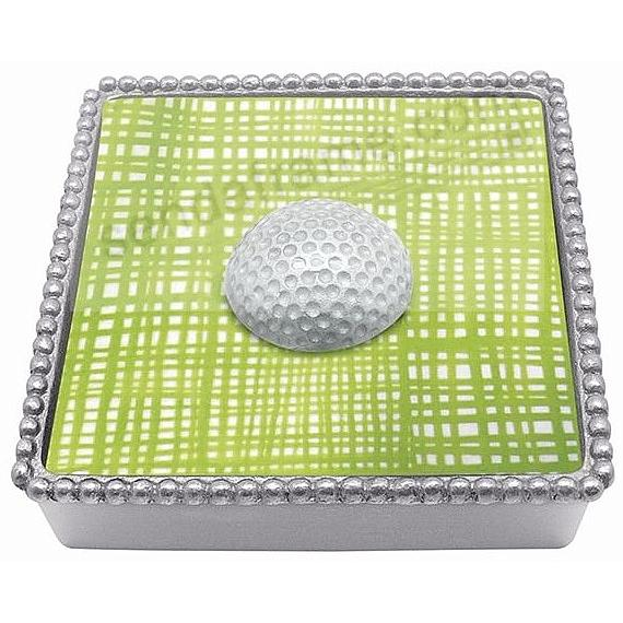 WHITE GOLF BALL BEADED Napkin Box by Mariposa®