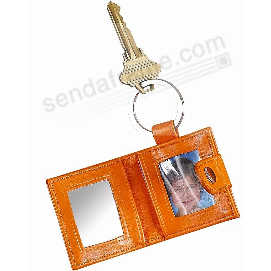 Orange Locket Keyring w/Frame + Mirror