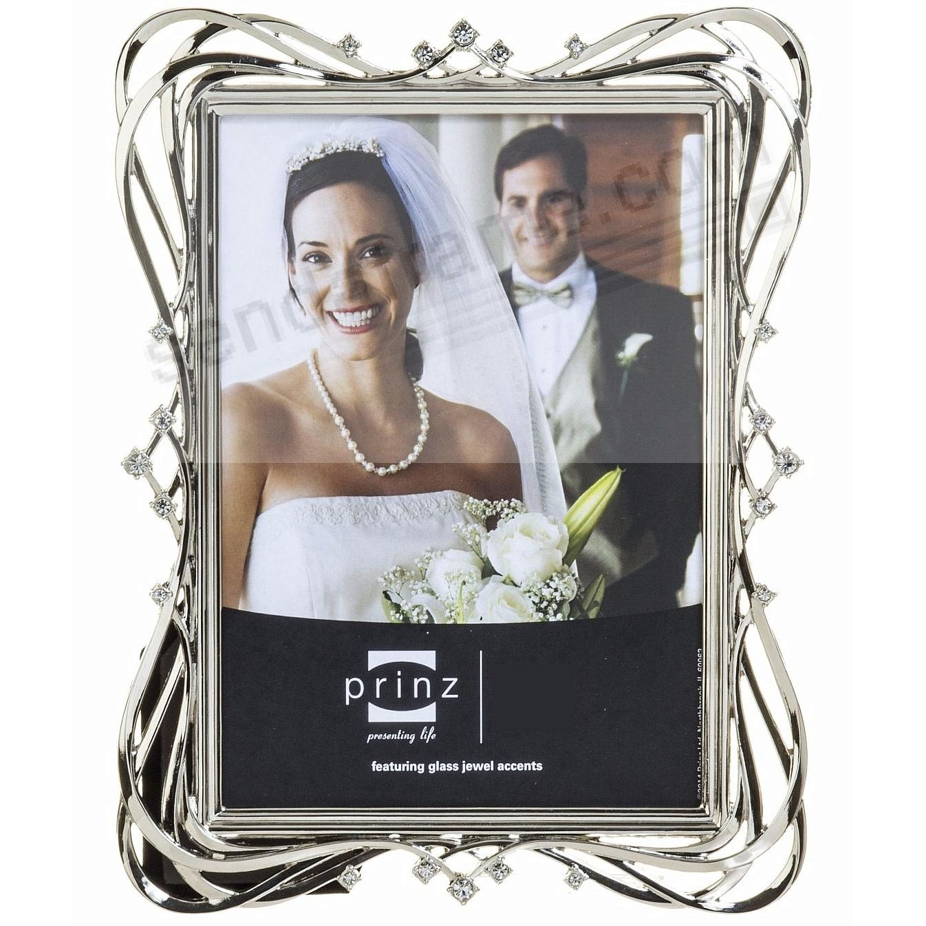 Top ENCHANTED Silver Jeweled Crystal 5x7 frame by Prinz - Picture  ZY27