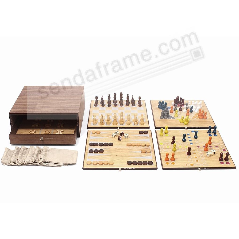 Collector's Edition 5-in-1 Game Set with Walnut and Oak Finish Swing Design®