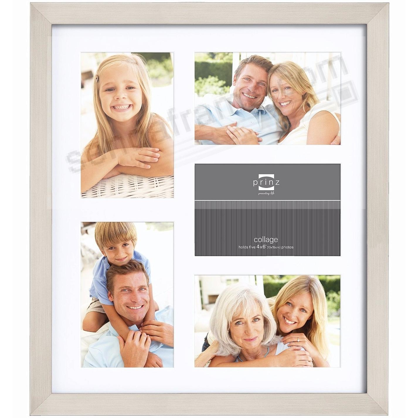 Matted Nickel Finish collage frame for 5 - 4x6 prints by Prinz®