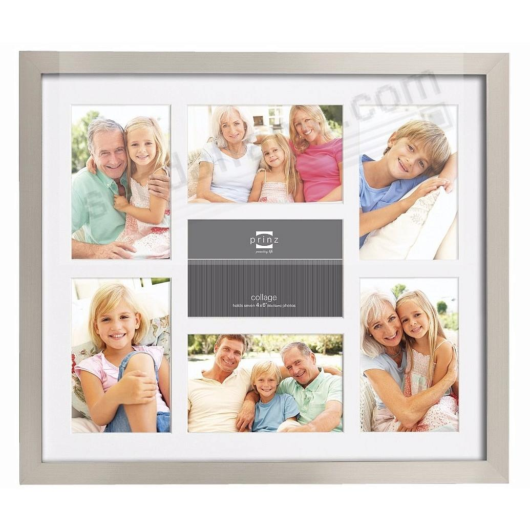 Matted Nickel Finish collage frame for 7 - 4x6 prints by Prinz ...