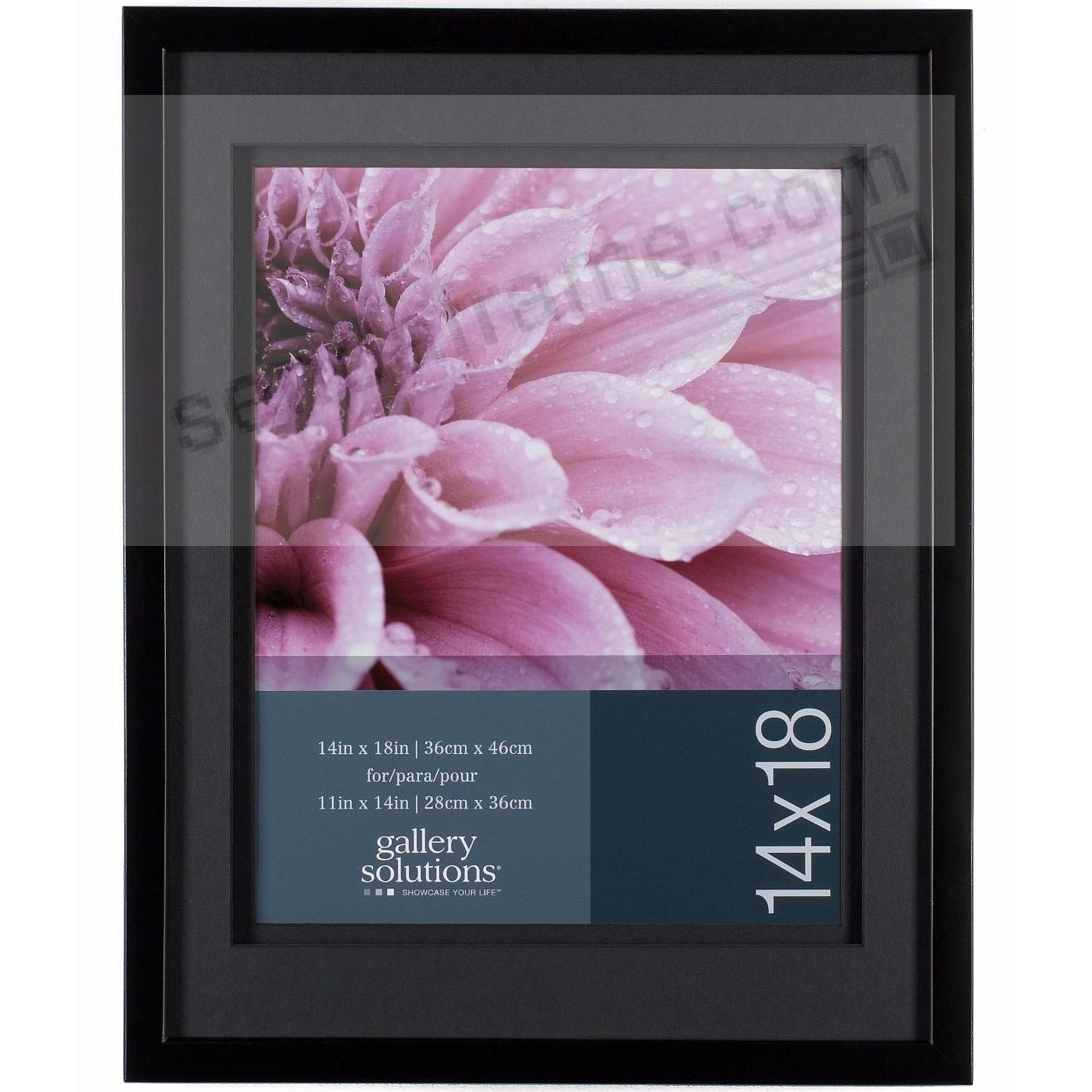 Black Wall 14x18/11x14 Frame with AirFloat Black Mat by Gallery Solutions™