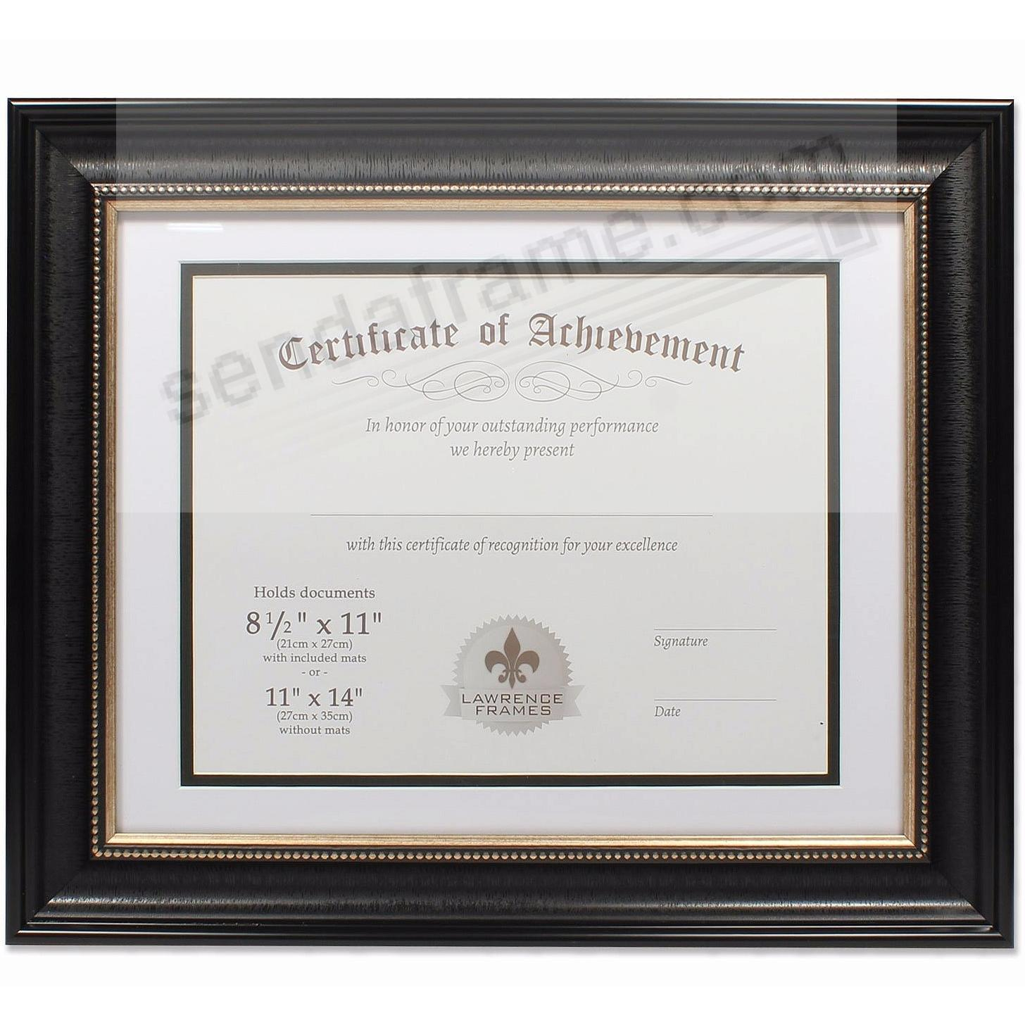 Dual Use Black Beaded Document Frame 14x11/11x8½ by Lawrence Frames ...